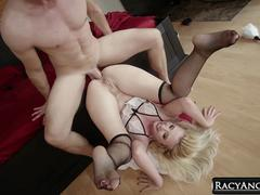 Hotel Blonde Maid Samantha Rone Anal Fucked to Gaping and Sucking Big Cock of Bill Bailey