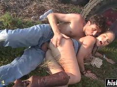 Sexy farm girl fucked by the tractor