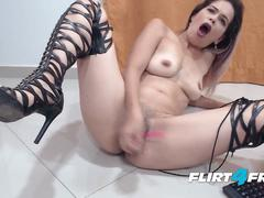 Daisy Dane - Flirt4Free Model - Colombian Hottie in Leather Leggings Squirts Hard
