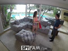 SpyFam Step dad cuts step daughter Abella Danger off unless she fucks him