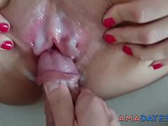 Amateur homemade creampie with wife closeup
