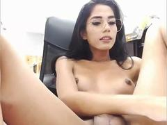 Smart Ladyboy with glasses wanking her cock
