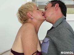 Old mature cunt filled with young cock