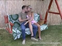 Tiny blonde fucked in the back yard