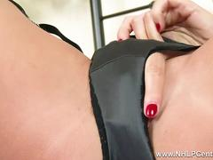 Kinky brunette Tina Kay finger fucks wet pussy in vintage nylons satin panties and black lingerie