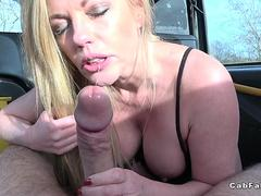 Huge tits Milf rimming and fucking in fake taxi