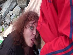 My Old Tranny Grandma being fucked at the rocks outdoors