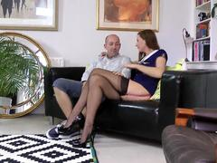 Dicksucking euro MILF plowed on the sofa