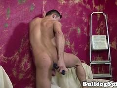 Tattooed punk dildoing his tight butthole
