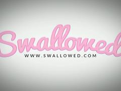 SWALLOWED Petite Riley Reid has no gag reflex and swallows it all