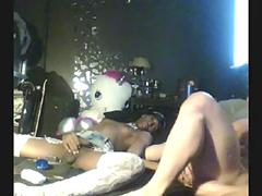 black tranny trap gets analized by a BBC on bed