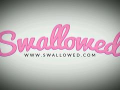 SWALLOWED Two ebony cum dumpsters suck a big white cock