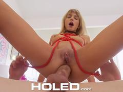 HOLED Roped BACKDOOR pounding with tiny SPINNER