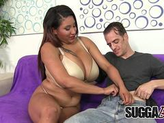 Mega Boobed Black Tart Danni Lynne Makes a Skinny White Guy Cum