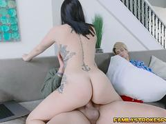 Raven sucks stepdads cock behind sleeping mom