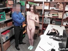 Petite shoplyfter ride her pussy on top of the LP Officers cock