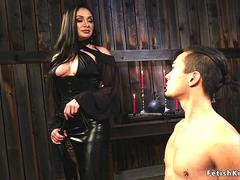 Mistress rides gag dildo on male slave