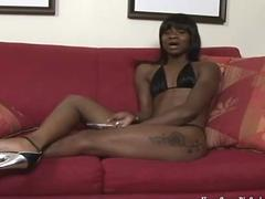 Petite ebony babe gets demolished by a big black cock