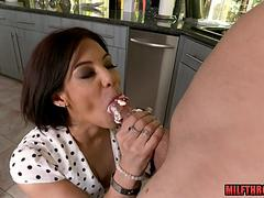 Brunette milf ball licking and cum in mouth