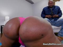 Ebony Whore Victoria Cakes Gets Her Booty Oiled Up