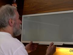 OLD4K. Handsome old man was happy to satisfy his long-legged wife