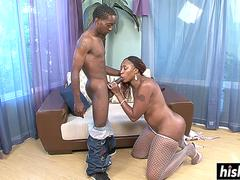 Ebony girl gets her tight cunt fucked