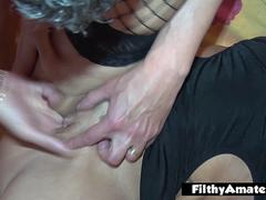 Squirting wife eats cum from her sister pussy