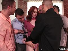 Redhead group gangbanged at selling