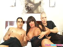 Interracial Threesome With Horny BBW Mature