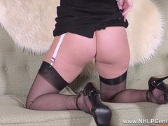 Brunette Sophia Smith teases in black nylons heels strips for you to cum on feet and trim pussy