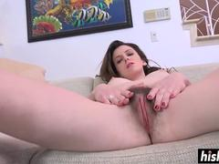 Emma satisfies her tight hairy pussy