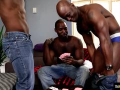Buff ebony trio assfucking and sucking cocks
