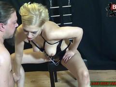German slave have to cum on high heels from fetish femdom with leather clothes