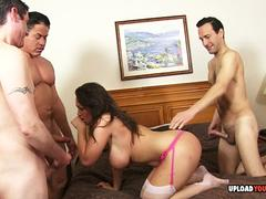 Kinky woman with big tits gets gang banged