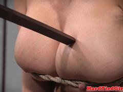 Bigtitted babe gagged and tied up by maledom