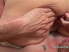 Fat nurse with massive tits takes it up the bumhole