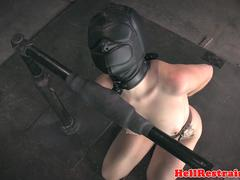 Humiliated slave bent over and dildo fucked