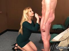 Randy idol gets cum shot on her face sucking all the jizz