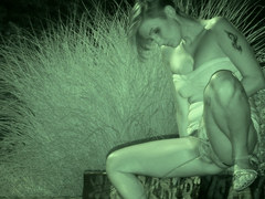 Night vision pissing for tattooed hottie!