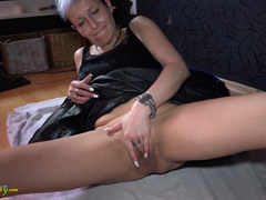 OldNanny Granny with piercing in her pussy is masturbating