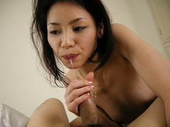 Asian babe in sexy white gets a mouthful of cum movie