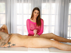 Beautiful and sexy Brooklyn Chase milks his cock