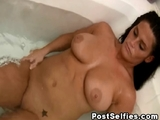Busty naked wife filmed in the bathroom naked