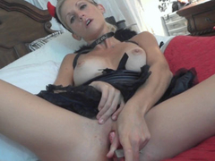Blonde MILF Jolene masturbates while sucking dick