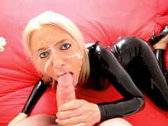 Horny slut in tight latex outfit gets penetrated by multiple guys and creamed!