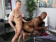 Interracial gay intercourse in the barber shop