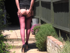 Kinky Milf Nylon Jane teasing her fully incased long nylon clad legs for your worship